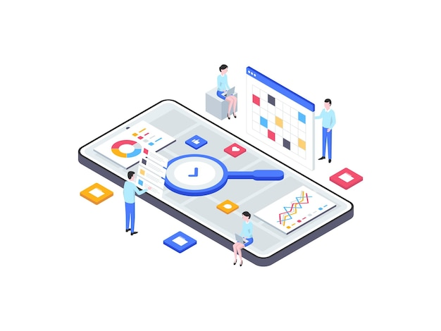 Research and development isometric illustration. suitable for mobile app, website, banner, diagrams, infographics, and other graphic assets.
