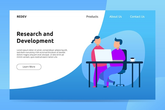 Research and development landing page illustration