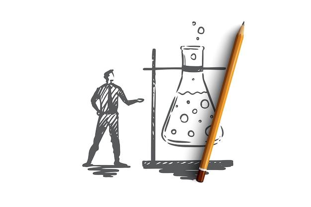 Исследования, стекло, медицина, ученый, концепция лаборатории. ручной обращается ученый-медик и эскиз концепции химического эксперимента.