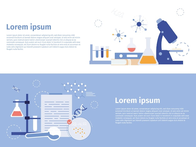 Research laboratory equipment banner doing experiments in medical lab pharmaceutical biochemistry