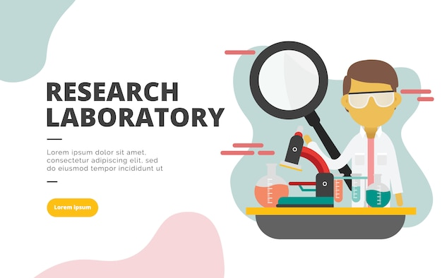 Research laboratory flat design banner illustration