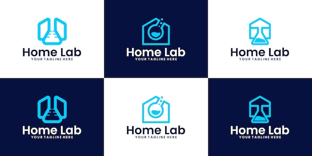 Research laboratory home logo design inspiration collection