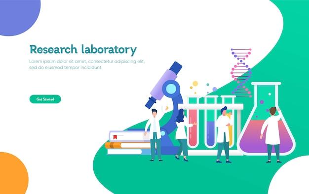 Research laboratory illustration concept, scientis working at laboratorium