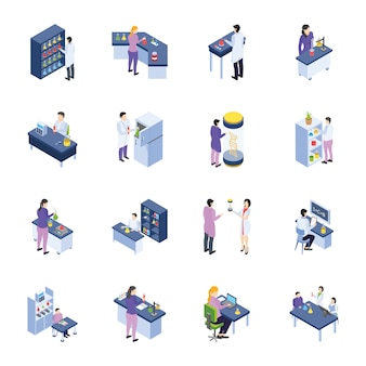 Research laboratory isometric icons pack