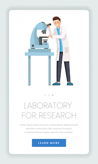 Research laboratory mobile webpage template