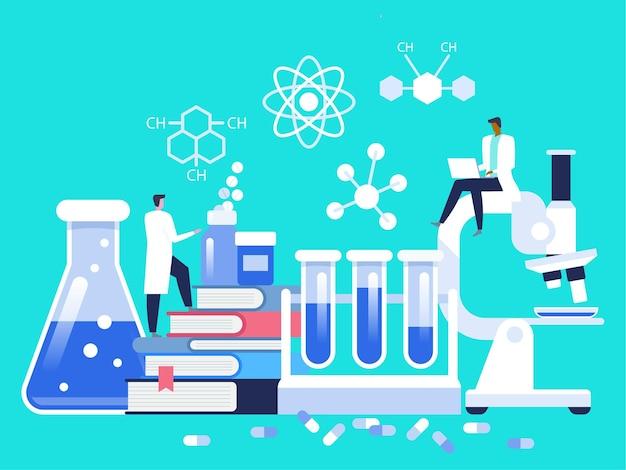 研究室。研究所で働く科学者。研究室で研究をしている男女。