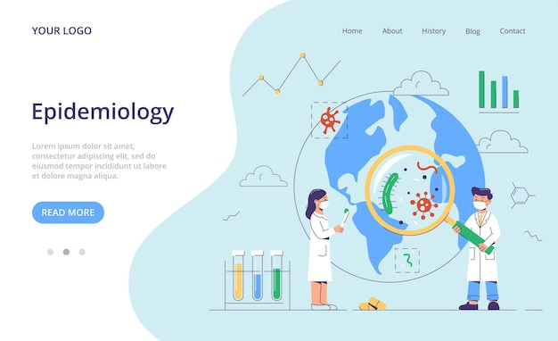 Research of pathogenic microorganisms, tiny bacteria pandemic outbreak. landing page template.