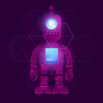 Research robot science and technology background.