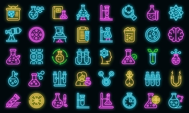 Research scientist icons set vector neon