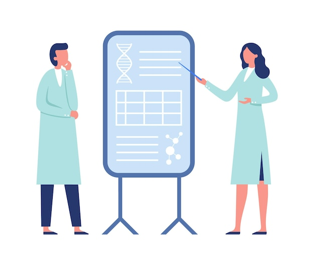 一緒に働く研究者。 dna遺伝子コード、分子でボードを指しているコートの女性。情報を聞いている人、臨床検査医のベクトル図