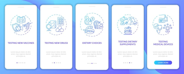Research studies onboarding mobile app page screen with concepts. medical devices testing walkthrough 5 steps graphic instructions. ui, ux, gui template with linear color illustrations