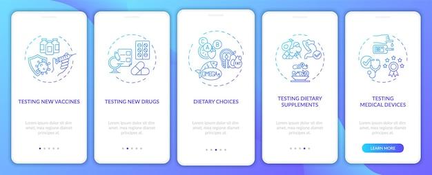 개념이 있는 모바일 앱 페이지 화면을 온보딩하는 연구를 조사합니다. 의료 기기 테스트 연습 5단계 그래픽 지침. 선형 컬러 일러스트레이션이 있는 ui, ux, gui 템플릿