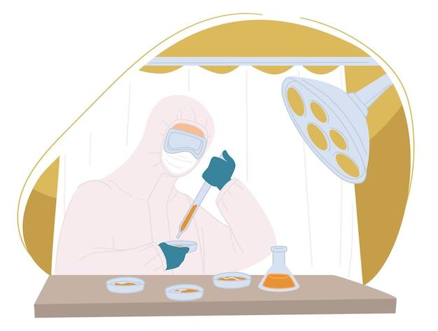 질병을 치료하기 위한 백신을 연구하는 연구원 또는 과학자. 실험실에서 미생물학 또는 혁신적인 실험. 파이프와 안경, 의약품이 있는 실험실 조수. 평면 스타일의 벡터