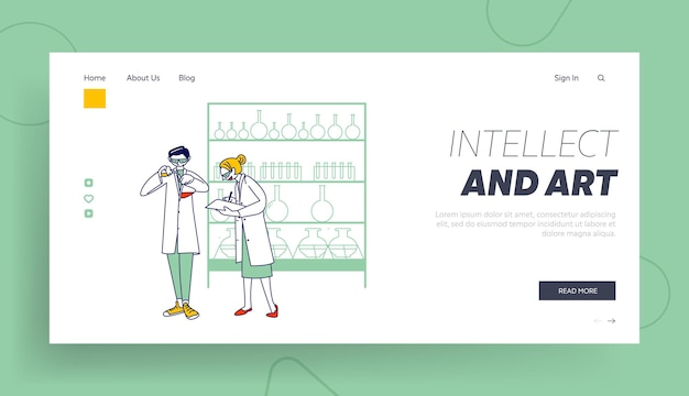 Researchers in chemical lab landing page template.