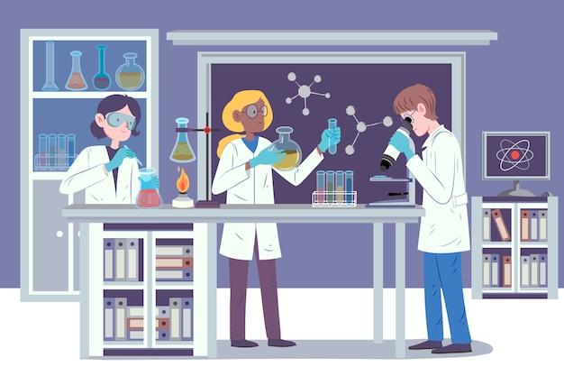 Исследователи, работающие в научной лаборатории