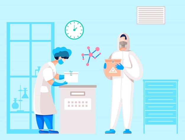 Исследовательская лаборатория со специалистами в защитных масках и униформе
