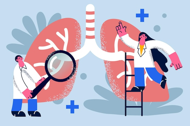 Researching lungs in medicine concept