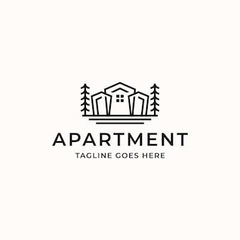 白い背景で隔離の居住用不動産アパートモノラインロゴテンプレート