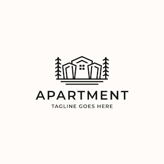 Resident real estate apartment monoline logo template isolated in white background