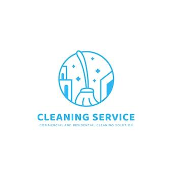 모노라인 스타일의 주거 및 상업용 청소 서비스 솔루션 로고 아이콘 배지