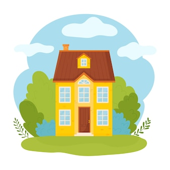 Residential building   flat style illustration.