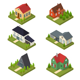 Residential building set in isometric view