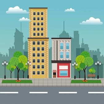 주거 건물 상점 도시 거리