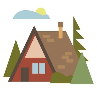 木々に囲まれた住宅用テント建設会社や不動産業者のロゴ