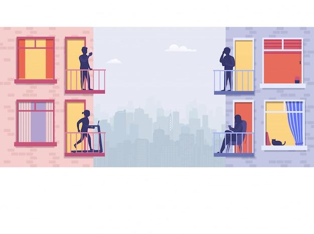 開いている窓のテラスに人がいる住宅。隣人は電話で話し、スポーツをし、リラックスし、コーヒーを飲みます。街の景色を望むアパートメント周辺