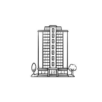 Жилой дом с деревьями рисованной наброски каракули значок. жилая недвижимость и концепция аренды. векторная иллюстрация эскиз для печати, интернета, мобильных устройств и инфографики на белом фоне.