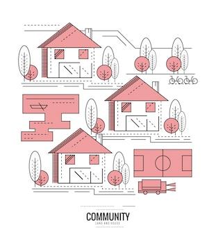 住宅コミュニティ。村の道路地図。細線フラットデザイン。ベクトルイラスト