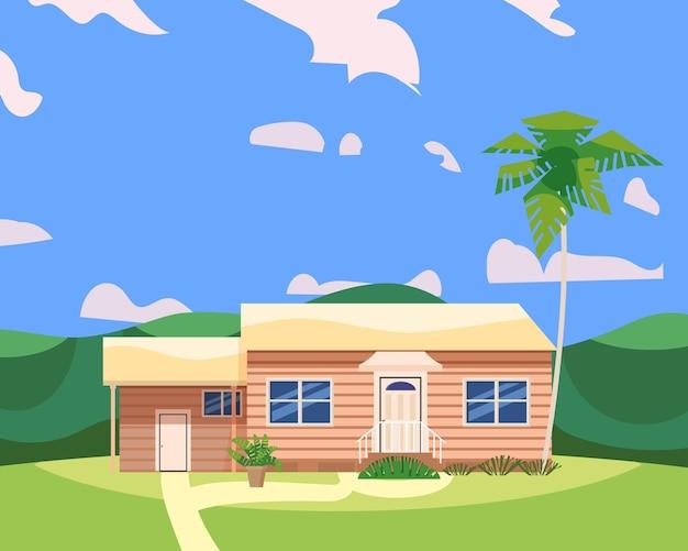 風景熱帯の木の手のひらの住宅の建物