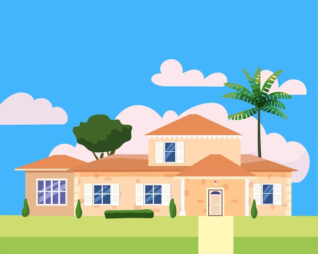 Residential home building in landscape tropic trees palms family modern cottage mansion villa