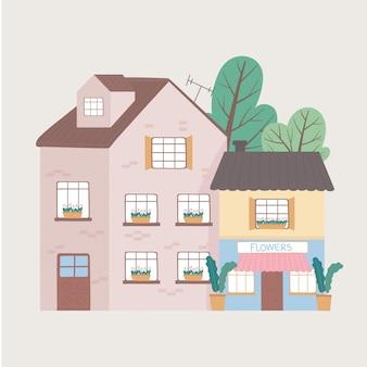 Residential house and commercial building facade exterior cartoon