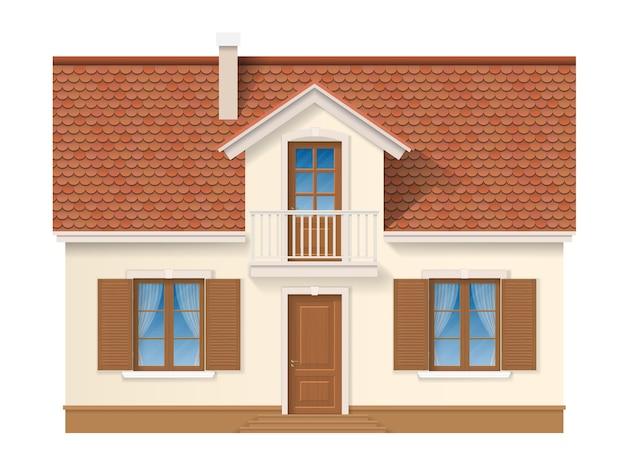 Фасад жилого дома с черепичной крышей и ставнями на окне. небольшой частный дом. дачный дом фасадный.