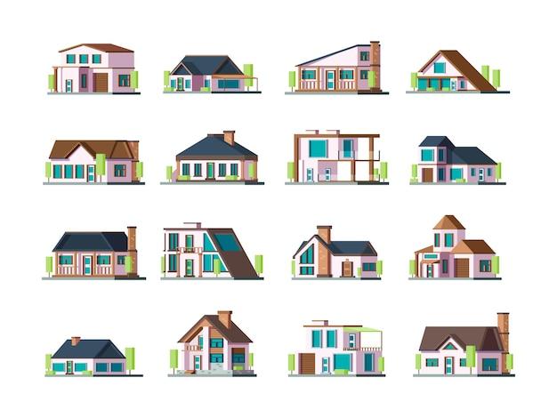 住宅。村の建物の外観のモダンなタウンハウスコレクションセット。イラストビル村、住宅