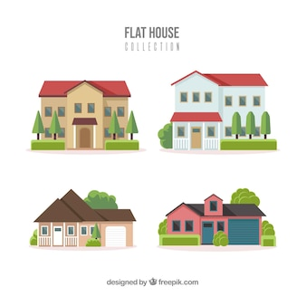 Residential houses collection in flat style