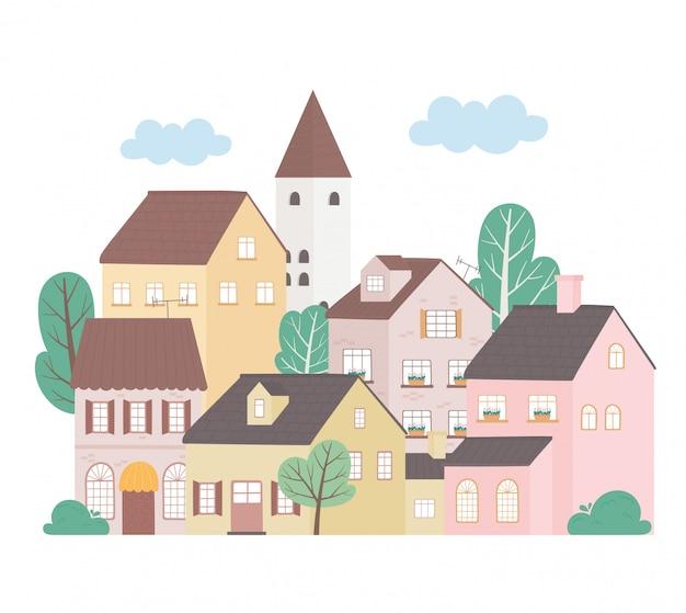 住宅近所の建築物建物木のイラスト