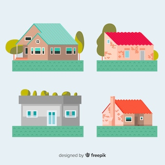 Residential housing collection in flat style