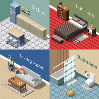 Residential interior isometric composition set