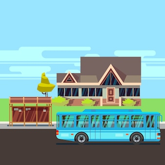 Residential old-style house with bus stop