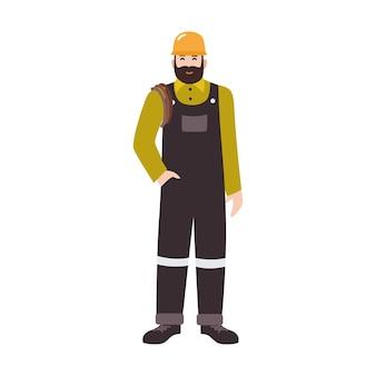 작업복과 단단한 모자를 쓴 주거 배관공, 배수관 또는 파이프 청소 서비스 작업자. 웃는 남성 만화 캐릭터 흰색 배경에 고립. 평면 스타일에 색된 벡터 일러스트 레이 션.
