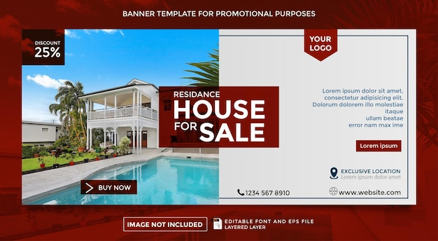 Residential sale theme banner template for family
