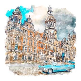 Residenzschloss 드레스덴 독일 수채화 스케치 손으로 그린 그림