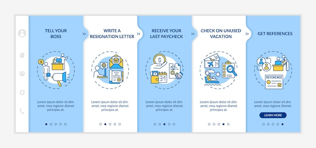 Resignation checklist onboarding mobile app page screen with concepts. job change walkthrough 5 steps graphic instructions. ui, ux, gui vector template with linear day mode illustrations
