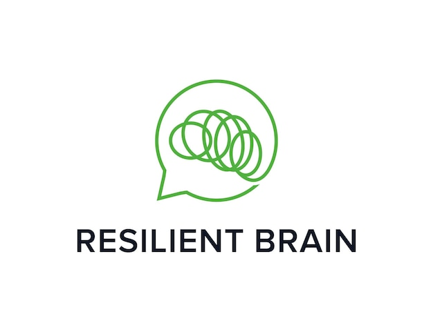 Resilient brain with chat bubble outline simple sleek creative geometric modern logo design