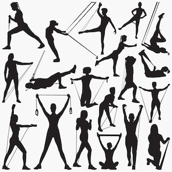 Resistance band exercise silhouettes