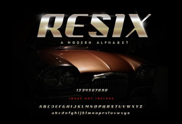 「resix」抽象的な現代アルファベットフォント。タイポグラフィフォント通常の大文字と小文字、ヴィンテージカーの背景