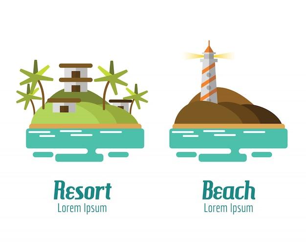Курортный и пляжный пейзаж. плоские элементы дизайна. векторные иллюстрации