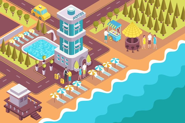 Resort beach hotel full lodging service located on shore exterior territory swimming pool isometric view  illustration